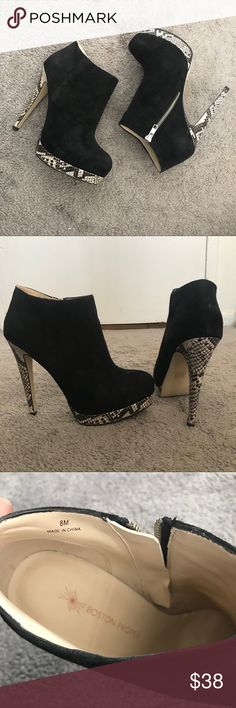 Bootie heeled shoes Very good condition size 8 I really love this shoes, so comfortable but is just bothering me with the snake print on it,, Boston Proper Shoes Ankle Boots & Booties