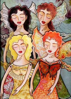 Peaceful Fairies paper doll PDF download by birdandflower on Etsy