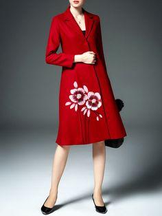 Floral Printed Wool blend Long #Coat