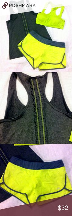 Complete outfit! Complete outfit to help you be instantly ready to hit the gym or jogging trails.  Cute running shorts with built in underwear. Bra is padded for extra support. Tank is a racer back with the cutest neon stitching and ruffle down the back.  All three pieces are size Medium.  They are used but in great condition. bcg Tops Tank Tops
