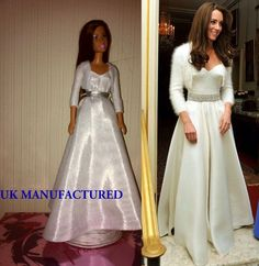 Royal, Celebrity Kate white Dress For Barbie