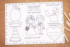 Mit diesem süßen Tischset können Eure kleinen Gäste sich kreativ austoben und Euch eine liebevolle Erinnerung an Euren besonderen Tag hinterlassen. Die Tischsets können am Kindertisch oder an den Gästetischen platziert werden und bleiben mit Sicherheit nicht lange unentdeckt! Die Kinder können ein Bild von sich malen, ihre ganz persönliche Hochzeitstorte gestalten und vieles mehr :-) de.dawanda.com/product/95593115-tischset-fuer-kinder-in-pdf-zur-hochzeit Hochzeitsmalbuch,Malbuch,Malheft