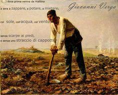 """L'Homme à la houe di Jean-François Millet é un'opera che rappresenta il lavoro duro, estenuante, schiavo dei contadini; ed una frase che simbolizza anche questo fatto é quella del testo """"La Roba"""" di Giovanni Verga."""