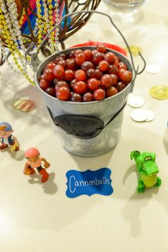 Jake and The Neverland Pirates Party love the healthy option! grapes for cannonballs!