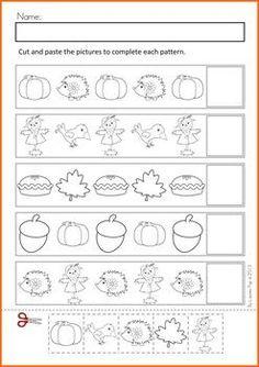 Autumn / Fall Math Worksheets & Activities No Prep Literacy Worksheets, Math Literacy, Homeschool Math, Kindergarten Math, Teaching Math, Fall Preschool Activities, Preschool Lesson Plans, Pattern Worksheet, Math Patterns