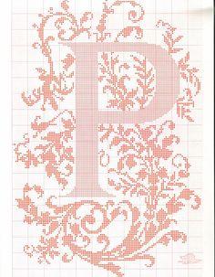 "cross stitch alphabet in 2 colors- very ornate monogram 26 single letters -- ""P"" #16"