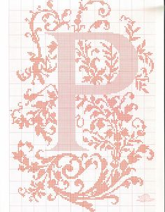 "cross stitch alphabet in 2 colors- very ornate monogram 26 single letters -- ""P"" #16"