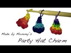 Learn how to make a birthday party hat charm using rubber bands, a hook and a loom. The loom is set in the staggered layout -- so you can use a CraZLoom, Won. Rainbow Loom Party, Rainbow Loom Bands, Rainbow Loom Charms, Kids Rainbow, Rubber Band Charms, Rubber Band Bracelet, Loom Bands Designs, Loom Band Bracelets, Rainbow Loom Creations