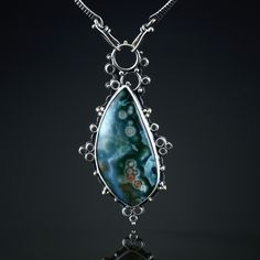 Ocean Agate Centerpiece. Fabricated Sterling Silver and 18k Gold.  www.amybuettner.com https://www.facebook.com/pages/Metalsmiths-Amy-Buettner-Tucker-Glasow/101876779907812?ref=hl https://www.etsy.com/people/amybuettner http://instagram.com/amybuettnertuckerglasow
