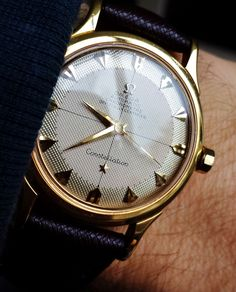 Stunning Vintage #BlackandGold OMEGA Constellation Chronometer In 18K Solid Gold and Leather Strap