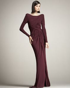 Elie Saab Front-Slit Ruched Gown