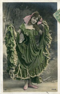 Vintage French hand tinted photo postcard - Lady in a beautiful dress - Victorian Paper Ephemera