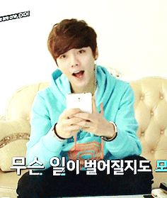 Baby LuLu during EXO Showtime ep11 | We Heart It <---omo!!!!! he looks like an idiot but omg so cuteeee <3