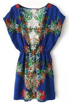 Blue Batwing Sleeve Bandeau Floral Chiffon Dress