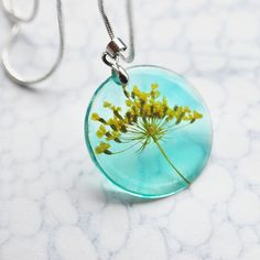 Petite Real Flower Necklace Yellow Green by NaturalPrettyThings, $28.00
