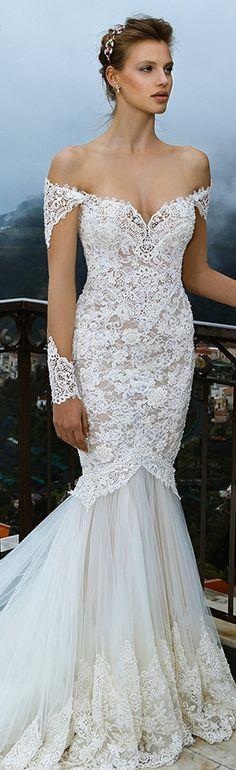 michal medina spring 2016 bridal off the shoulder lace trumpet mermaid wedding dress mia #mermaidweddingdress #weddingdress #weddings