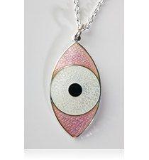 Third Eye Necklace from the Emamellist av Camilla Prytz - rosa med hvitt Eye Necklace, Third Eye, Camilla, Eyes, Cat Eyes