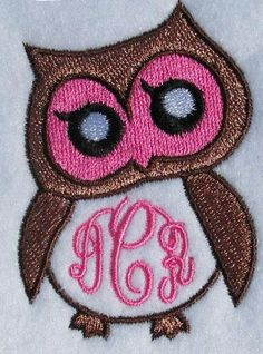 Owl #2 Frame Embroidery Design | Apex Embroidery Designs, Monogram Fonts & Alphabets