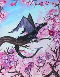 A beautiful fantasy art print featuring a black dragon sitting on a branch, surrounded by cherry blossoms. Created by SwinkArt.