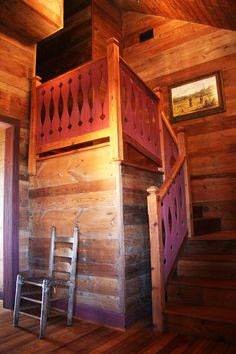 New home built from recycled antique materials. Stairs entirely created from old wood. A Truehome by Sentient Architecture, LLC