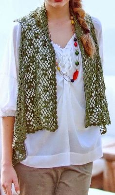 Elegante Fácil Crochet: Modelo del ganchillo del cordón del chaleco de la Mujer