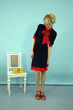 Elegant Dress Sienna, navy-red, by jekyllundkleid on Etsy