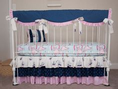Bumperless Baby Crib Cot Bedding Nautical Navy Blue Pink made from Out to Sea Collection Fabric Boats Map Sea Nautical Navy and Pink Out to Sea Collection Pink and Blue Bumperless Baby Crib Cot Bedding.