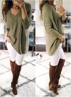 Big cozy sweater and white jeans with boots