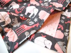 Grey and Pink Baby Girl Blanket - Zoology by Michael Miller - Pink Minky Dot - 26 x 30. $42.00, via Etsy.
