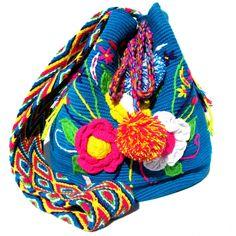 Wayuu mochila shoulder bag blue crochet flower