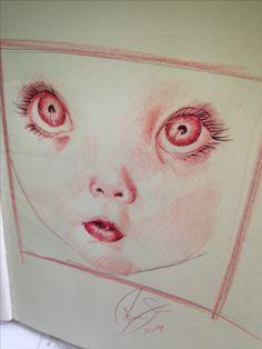 Baby   O que usei? -Lápis de cor vermelho  -Caneta Bic vermelha  -Sketchbook