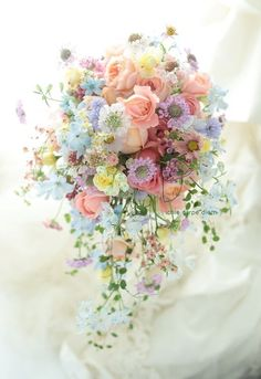 bouquet de mariée couleur pastelle