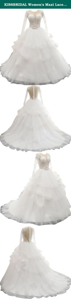 KISSBRIDAL Women's Maxi Lace Tulle Wedding Dresses For Bride 2016 Size 16 Ivory. Every dress is made by professional tailor one by one, we support customized size to fit your figure better.This gorgeous lacy long sleeves tulle wedding dress features a sexy sheer top, sweep train and lace applique.These make the wedding dress more beautiful, please do not miss this generous wedding dress.