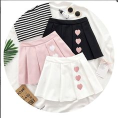 Cute heart kawaii skirt so cuteWhite/Black/Pink Sweet Heart Pleated Skirt Source byThe streets ought to be the upcoming big situation to reveal the outcomes of twinning fashion. Anyway, this Korean on-line shop is the actual deal. My treasured legit Kawaii Fashion, Cute Fashion, Kids Fashion, Fashion Styles, Fashion Ideas, Women's Fashion, Fashion Outfits, Fashion Trends, Kawaii Clothes