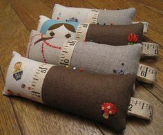 Linen Embroidered Pincushions