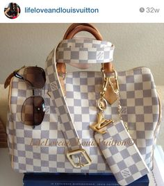 Louis Vuitton Damier Azur Speedy, Key Cles and belt. Ray Ban sunglasses.