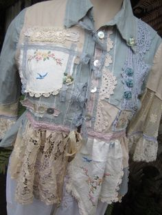 Vintage Kitty.. shabby chic, lace, duck egg blue, cream, ecru, doilies, upcycled shirt, ooak.. bluebirds.. Med/lge