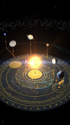 Universe Astronomy Orrery room (astronomical observatory instrument), with moon phases and astrological figures on the floor. Star tretrahdron in the center. Orion Nebula, Andromeda Galaxy, Helix Nebula, Carina Nebula, Cosmos, Space Planets, Space And Astronomy, Constellations, Home Bild