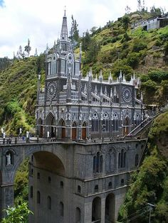 Las Lajas Sanctuary is a minor basilica church in the southern Colombian Department of Nariño, municipality of Ipiales and built inside the canyon of the Guáitara River. The present church was built in Gothic Revival style in 1949