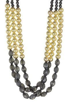 Gold & Smoke Triple Beaded Necklace