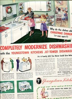 1950 Youngstown Kitchens - 1950s Vintage Retro Kitchen Mullins Large Size Ad