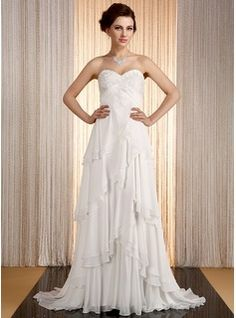Empire Sweetheart Sweep Train Appliques Lace Cascading Ruffles Lace Up Strapless Sleeveless Church Hall General Plus No Spring Summer Ivory Chiffon Wedding Dress
