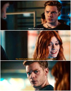 "#Shadowhunters 2x15 ""A Problem of Memory"" - Clary and Jace. Jace is like: excuse me, and what about the feelings? The kiss?"