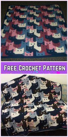 Crochet Cat Afghan Blanket Free Crochet Pattern