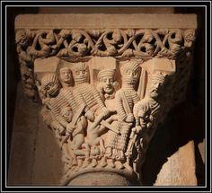 """Santa Cecilia, Aguilar de Campoo (Palencia). Detalle del capitel """"la matanza de los santos inocentes"""""""