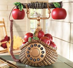 Apple Decor Basket Telephone Really Works. I Love This Phone I Need One For  My