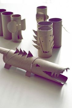 The tubes from TP and paper towels just found a new purpose other than ghetto kid microphone!  Wrapping Paper Rolls -  | kids | crocodile | elephant