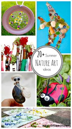 Nature Crafts Summer Nature Art and Craft Ideas for Kids. 20 fun outdoor activity ideas using nature for toddlers, preschoolers and older kids to enjoy. Stone, stick, flower, shell and leave nature crafts. Summer Camp Themes, Summer Camp Crafts, Camping Crafts, Summer Ideas, Spring Crafts, Summer Fun, Outdoor Activities For Kids, Art Activities, Activity Ideas