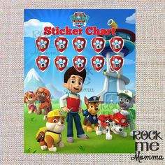 Paw Patrol Sticker Chart Reward System  by RockMeMommaShop on Etsy