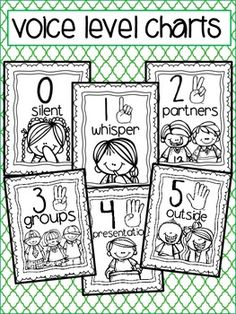 Black and white posters to help you teach your class about voice levels throughout the school day. {color code by running on colored paper} Keep your school consistent by using the same colors throughout. Large size for classroom and posting around the school common areas. Small size for teacher key ring and teachers that travel to different rooms, but want to keep consistent with each group of students throughout the day! Thank You, Reagan Tunstall Tunstall's Teaching Tidbits